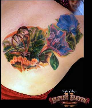 Realistic Bug and Flower Tattoo Tattoo Design