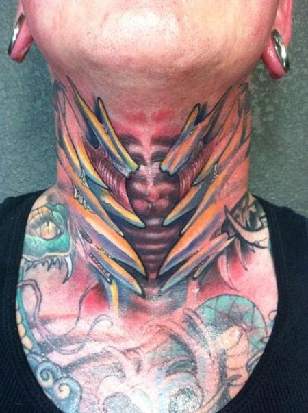 Tattoos - Bio organic throat tattoo - 84195