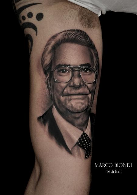 Tattoos - father face black n gray portrait tattoo  - 99277