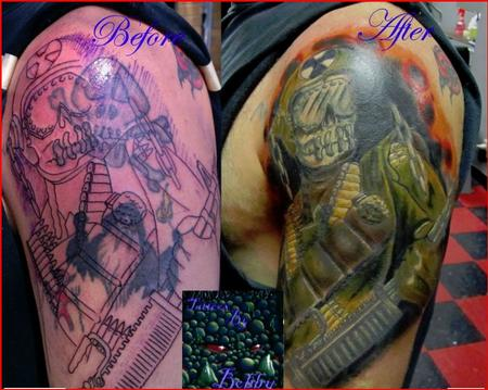 Bobby Cimorelli - customized megadeth art covering 3 old bad tattoos