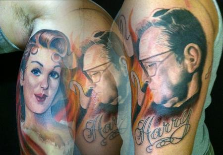 Hal Sawyer - here is the full half sleeve,with pinup view inset
