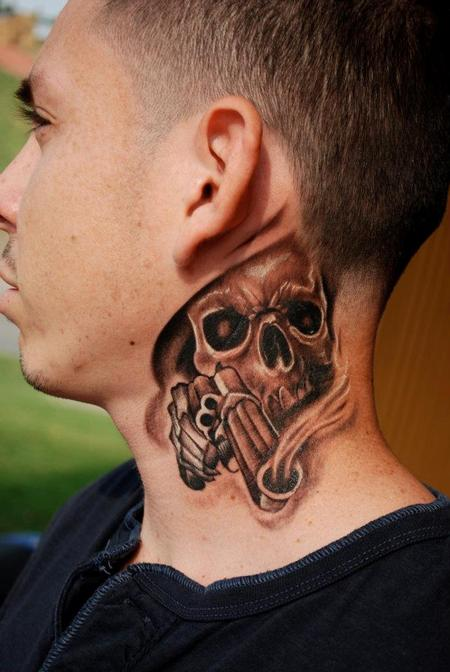 skull neck piece by david vallejo tattoonow. Black Bedroom Furniture Sets. Home Design Ideas