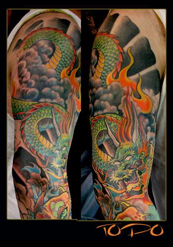 koi dragon tattoos. Dragon- Koi sleeve