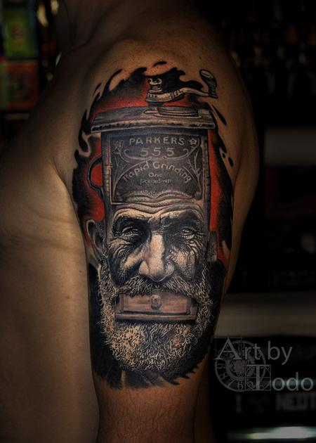 Tattoos - Coffee Grinder Head - 131732