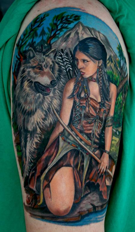Tattoos - Wolf and Indian girl - 62753