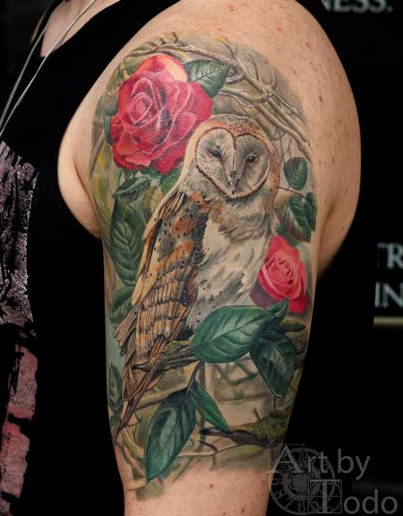 Owl and Roses Design Thumbnail