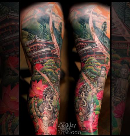 Tattoos - Buddhist Scene - 123463