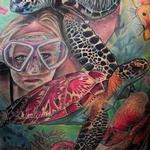 Diving with the Turtles Tattoo Design Thumbnail