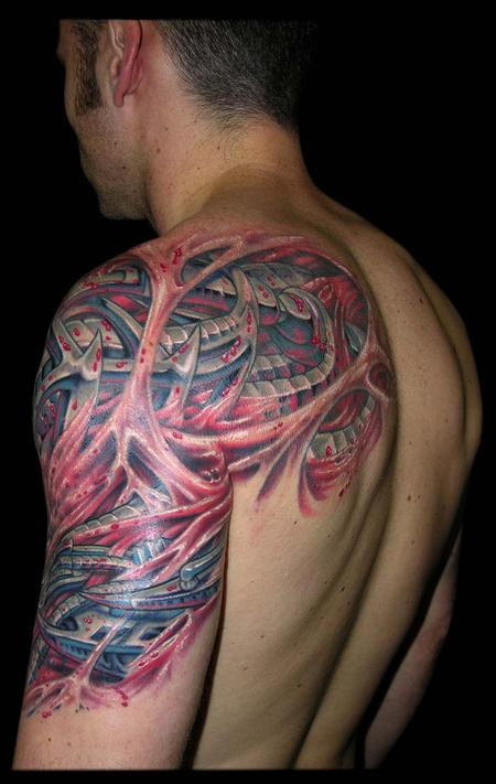 Tattoos - Bio Mech and Skin Rips cover up half sleeve - 79348
