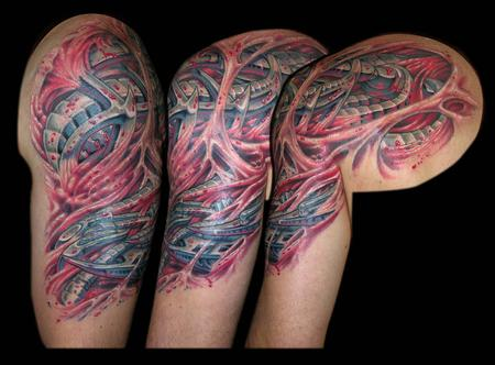Tattoos - Bio Mech and Skin Rips cover up half sleeve - 79349