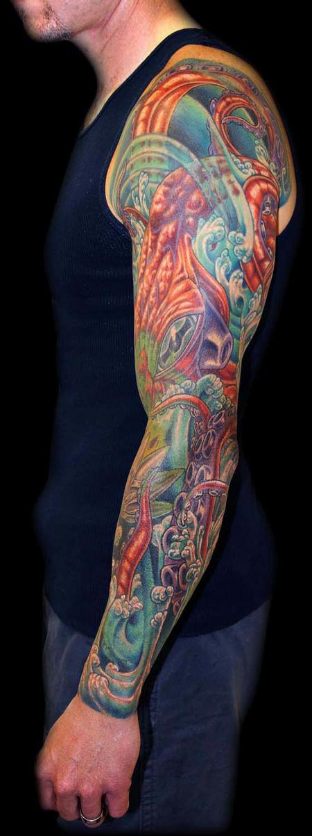 Tattoos - Octopus, Water and Mech Lotus Cover Up Sleeve - 79431