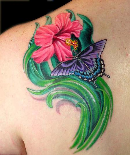 Tattoos - Hibiscus Flower and Butterfly - 79356