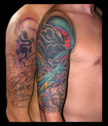 Tattoos - Asian Dragon and Yellow Lotus cover up half sleeve - 79347