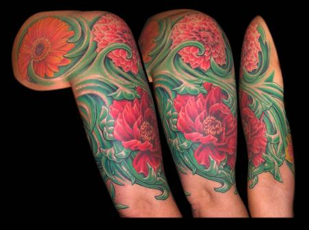 Tattoos - Gerber Daisy, Dahlai,Peony and Daffodils Floral Sleeve - 65063