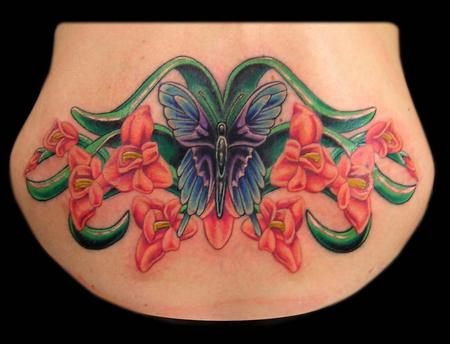 Tattoos - Butterfly and Gladiolus  - 65076