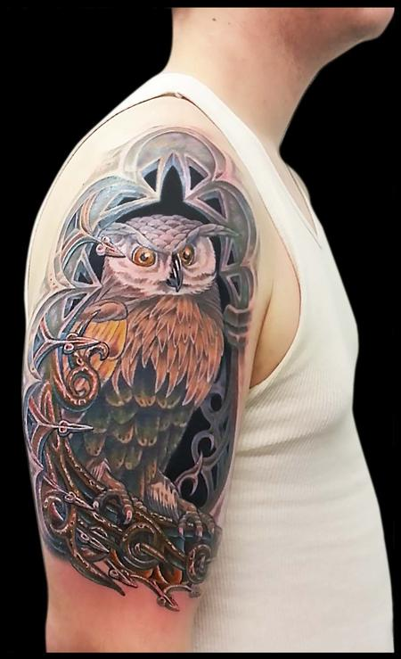 Tattoos - Owl in an Alcove Cover Up - 79378