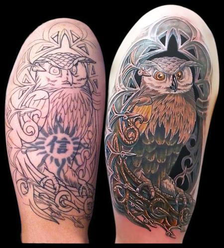 Tattoos - Owl in an Alcove Cover Up - 79380