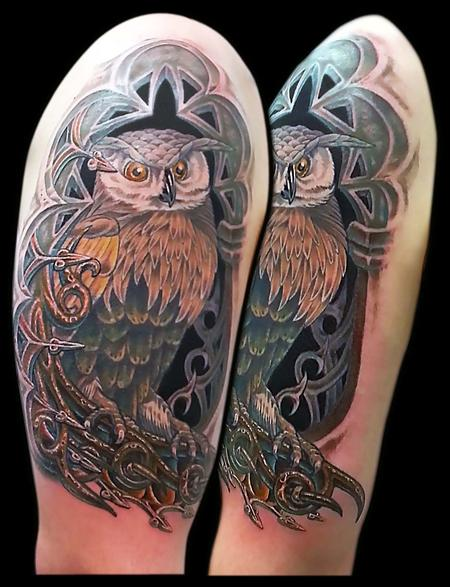 Tattoos - Owl in an Alcove Cover Up - 79379