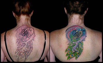 Tattoos - Peacock Covering Peace Sign - 42416
