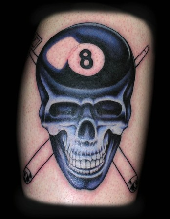 Tattoos - Eight Ball Skull - 37648