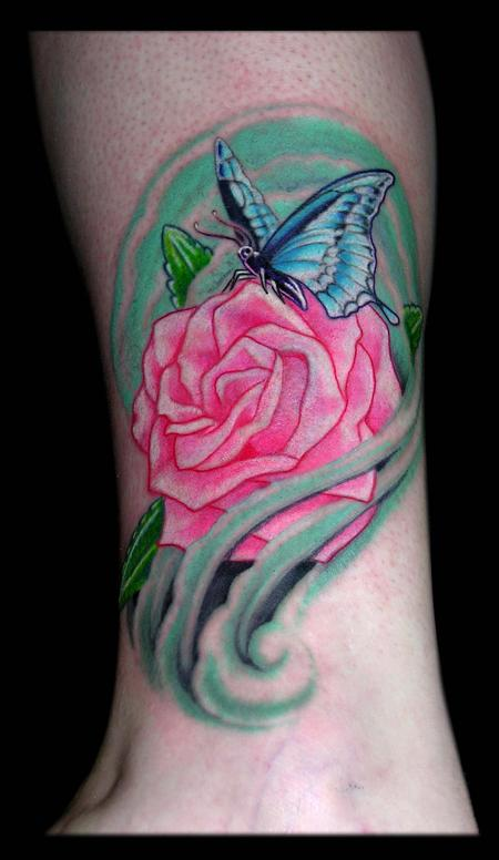 Tattoos - Butterfly and Rose   - 65087