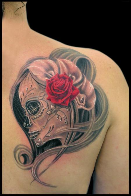 Tattoos - Black and Grey Day of the Dead Girl with Calla Lilies and a Rose - 79382