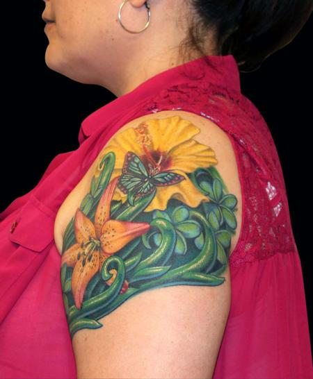 Tattoos - Royal Sunset Lilly, Hibiscus, Plumeria and a Butterfly - 79443