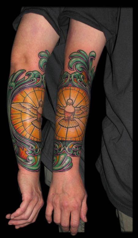 Tattoos - Stained Glass Dove with Filigree arm detail  - 65088