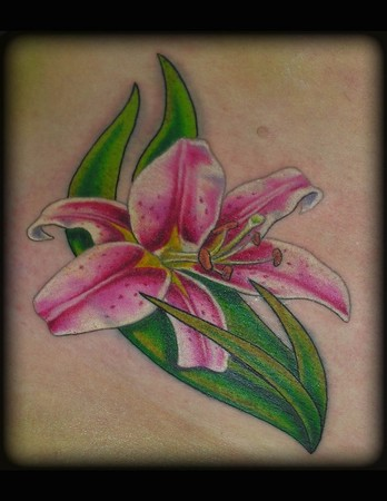 Tattoos - Small Stargazer Lily - 37649