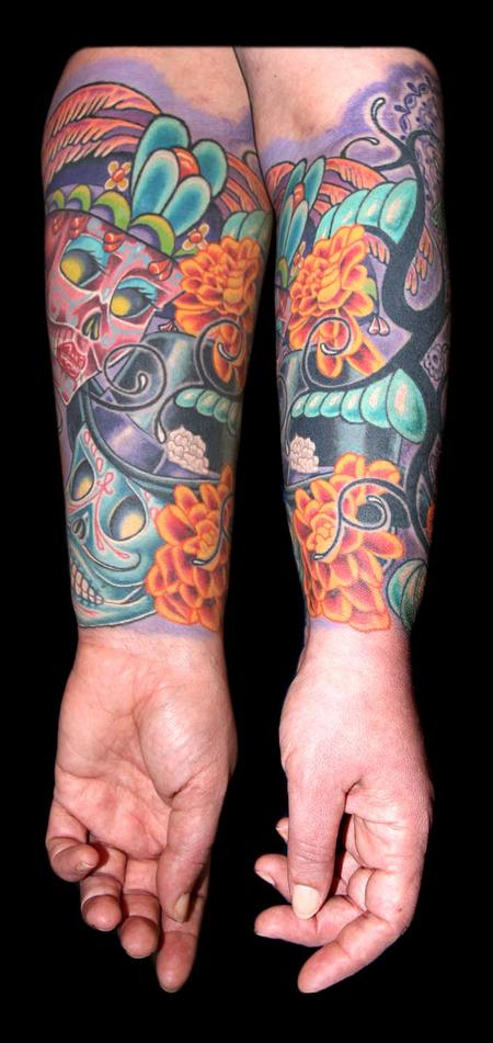 Tattoos - Day of the Dead Skulls, Marigolds, Bee and a Tribal Re-work - 79439