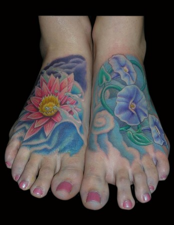 Tattoos - Water lily & Morning Glory Feet Tattoos - 37660