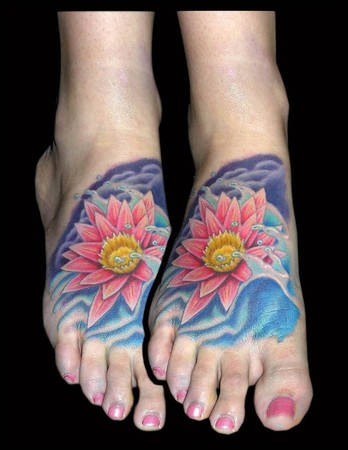 Tattoos - Water Llly Foot - 37658