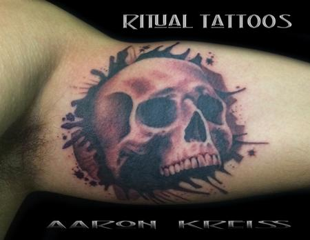 ink spattered black n grey skull Tattoo Design Thumbnail