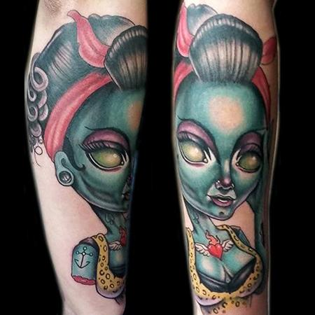 Adam Aguas - Zombie tattooed pin up