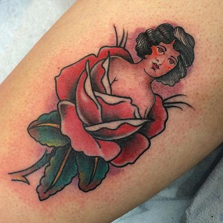 Tattoos - Traditional Girl and Rose Tattoo - 114152