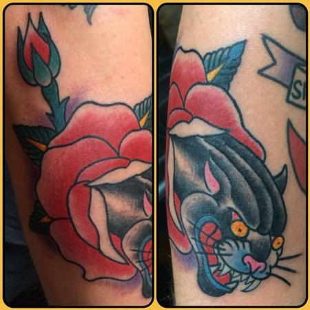 Tattoos - Traditional Rose and Panther Tattoo - 82485