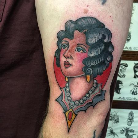 Tattoos - Traditional Girl Head - 129025