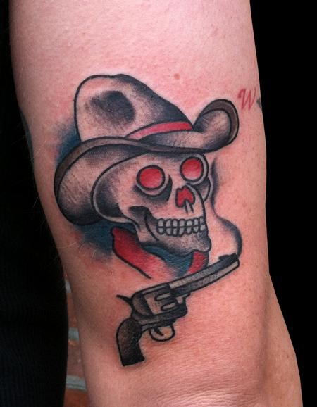 Adam Lauricella - Traditional Cowboy and Pistol Tattoo