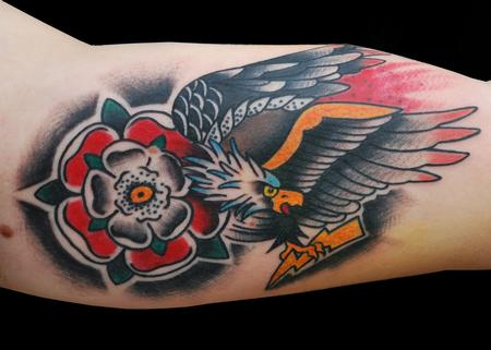 Tattoos - Traditional Eagle and Flower Tattoo - 60022