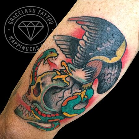 Traditional Skull, Eagle and Snake Tattoo Tattoo Design