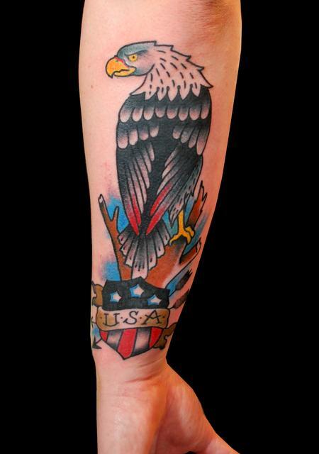 Tattoos - Traditional Eagle and USA Shield - 89917