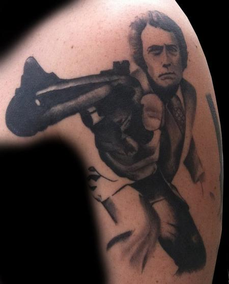 Adam Lauricella - Clint Eastwood, Dirty Harry, Black and Gray Portrait Tattoo.
