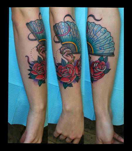 Tattoos - Hand, Fan and Roses Tattoo - 89334