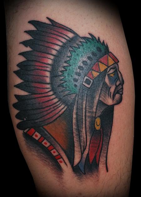 Tattoos - Ben Corday Inspired Indian Chief Tattoo - 57605