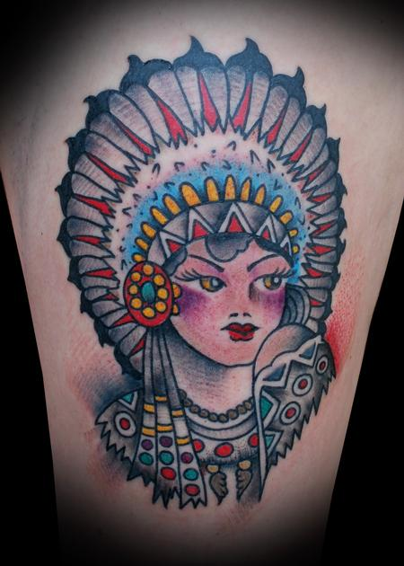 Tattoos - Sailor Jerry Indian Princess Tattoo - 56626