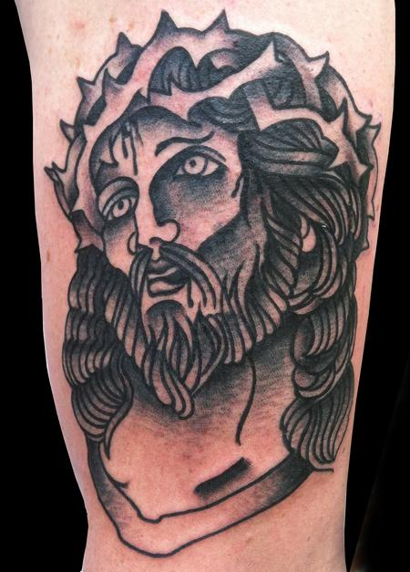 Tattoos - Traditional Jesus Tattoo - 64723