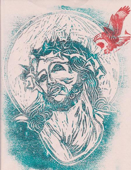Tattoos - Teal Jesus with Eagle - 88994