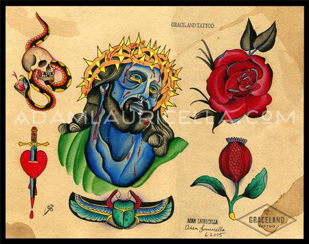 Tattoos - Blue Jesus Tattoo Flash - 106312