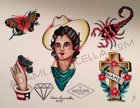 Tattoos - Cowgirl Tattoo Flash Sheet - 102113