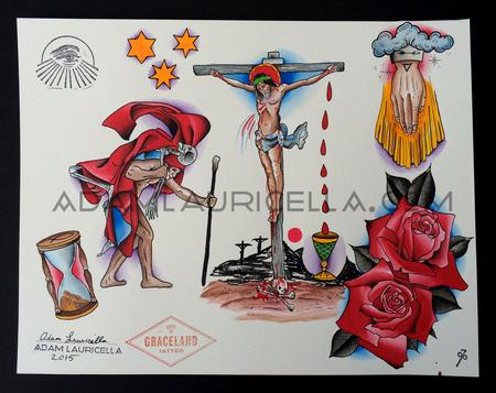 Tattoos - Crucifixion Tattoo Flash  - 102274